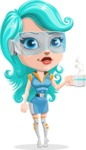 Smart Technology Future Girl Cartoon Vector Character AKA Neonna - Coffee