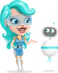Smart Technology Future Girl Cartoon Vector Character AKA Neonna - Robo Assistant