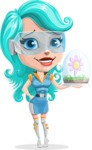 Smart Technology Future Girl Cartoon Vector Character AKA Neonna - Plant