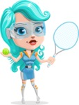 Smart Technology Future Girl Cartoon Vector Character AKA Neonna - Sport