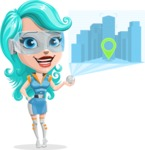 Smart Technology Future Girl Cartoon Vector Character AKA Neonna - Map