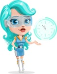 Smart Technology Future Girl Cartoon Vector Character AKA Neonna - Time