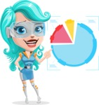 Smart Technology Future Girl Cartoon Vector Character AKA Neonna - Chart