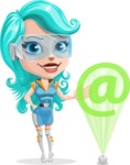 Smart Technology Future Girl Cartoon Vector Character AKA Neonna - Web