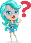 Smart Technology Future Girl Cartoon Vector Character AKA Neonna - Question