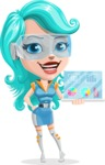 Smart Technology Future Girl Cartoon Vector Character AKA Neonna - Tablet 1