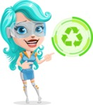 Smart Technology Future Girl Cartoon Vector Character AKA Neonna - Eco