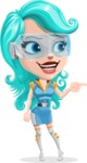 Smart Technology Future Girl Cartoon Vector Character AKA Neonna - Point 1