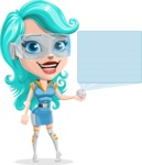 Smart Technology Future Girl Cartoon Vector Character AKA Neonna - Sign 3