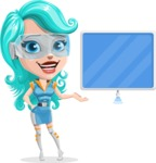 Smart Technology Future Girl Cartoon Vector Character AKA Neonna - Sign 4
