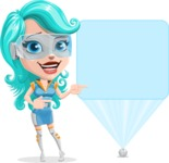 Smart Technology Future Girl Cartoon Vector Character AKA Neonna - Sign 5