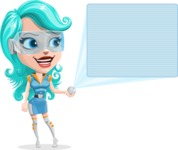 Smart Technology Future Girl Cartoon Vector Character AKA Neonna - Sign 6