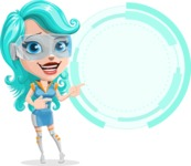 Smart Technology Future Girl Cartoon Vector Character AKA Neonna - Sign 7