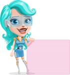 Smart Technology Future Girl Cartoon Vector Character AKA Neonna - Sign 8