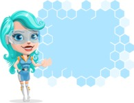 Smart Technology Future Girl Cartoon Vector Character AKA Neonna - Presentation 1