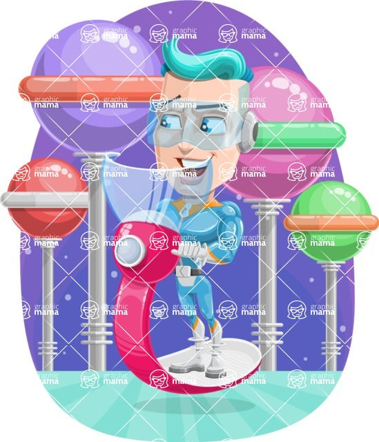 Space Man Astronaut Cartoon Vector Character AKA Lexo - Shape 6