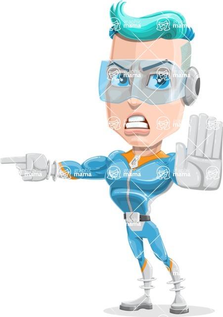 Space Man Astronaut Cartoon Vector Character AKA Lexo - Direct Attention 1