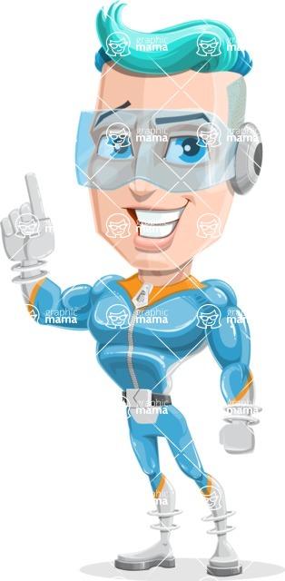 Space Man Astronaut Cartoon Vector Character AKA Lexo - Attention