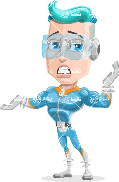 Space Man Astronaut Cartoon Vector Character AKA Lexo - Confused