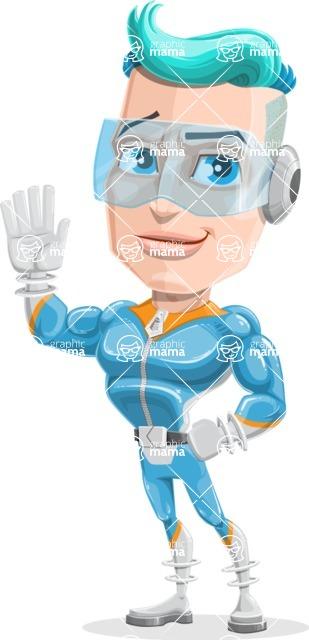 Space Man Astronaut Cartoon Vector Character AKA Lexo - Hello
