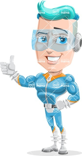 Space Man Astronaut Cartoon Vector Character AKA Lexo - Thumbs Up