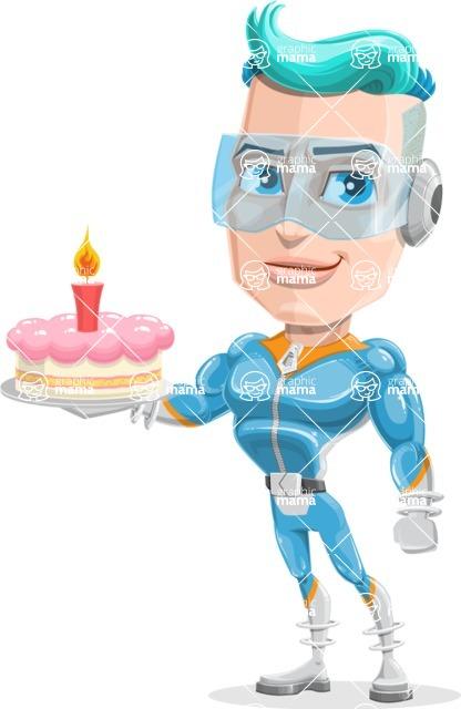 Space Man Astronaut Cartoon Vector Character AKA Lexo - Cake