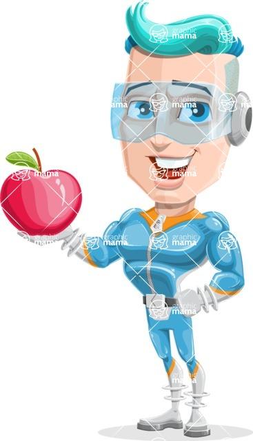Space Man Astronaut Cartoon Vector Character AKA Lexo - Apple