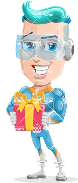 Space Man Astronaut Cartoon Vector Character AKA Lexo - Gift