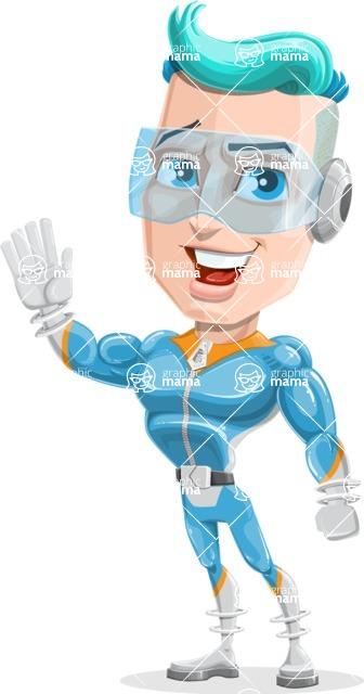 Space Man Astronaut Cartoon Vector Character AKA Lexo - Wave
