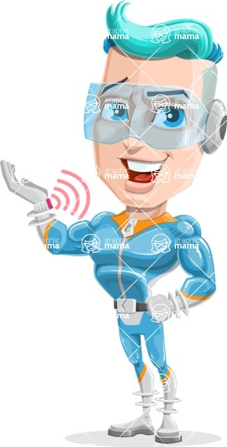 Space Man Astronaut Cartoon Vector Character AKA Lexo - Support 2