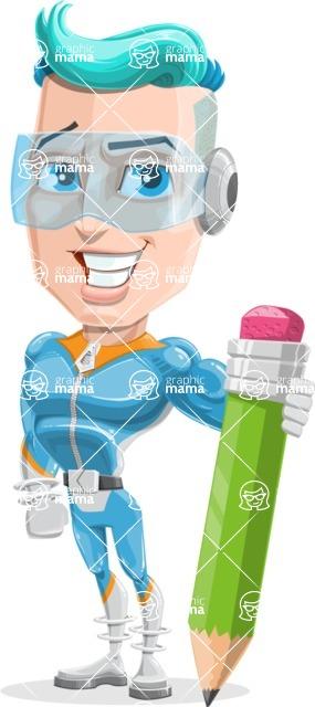 Space Man Astronaut Cartoon Vector Character AKA Lexo - Pencil