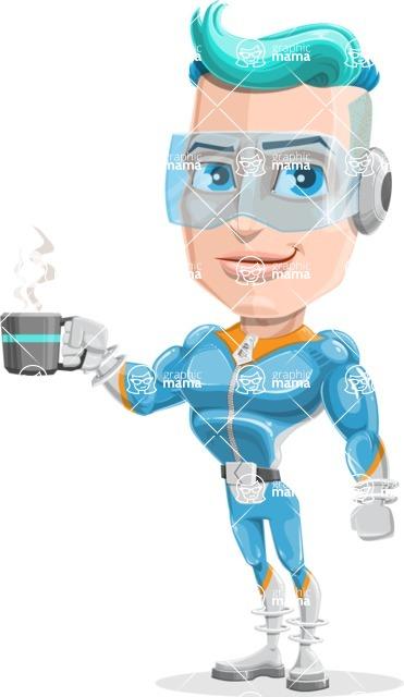 Space Man Astronaut Cartoon Vector Character AKA Lexo - Coffee