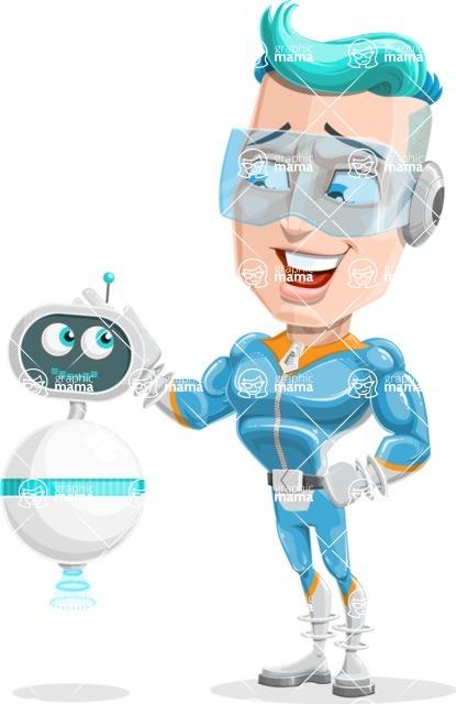 Space Man Astronaut Cartoon Vector Character AKA Lexo - Robo Assistant