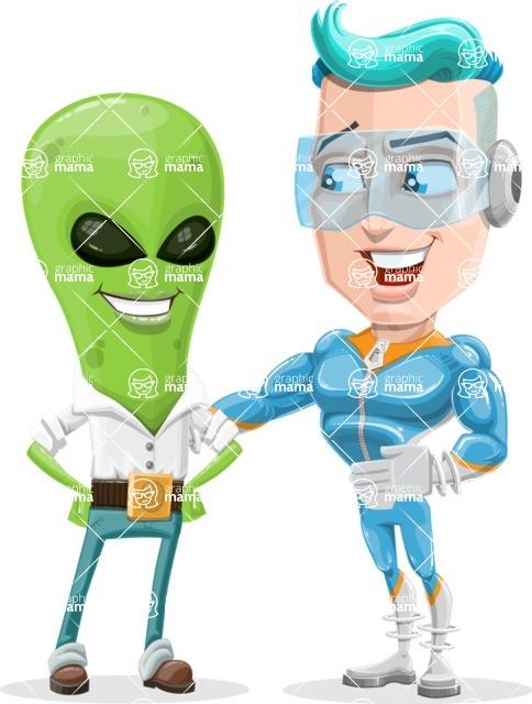 Space Man Astronaut Cartoon Vector Character AKA Lexo - Alien