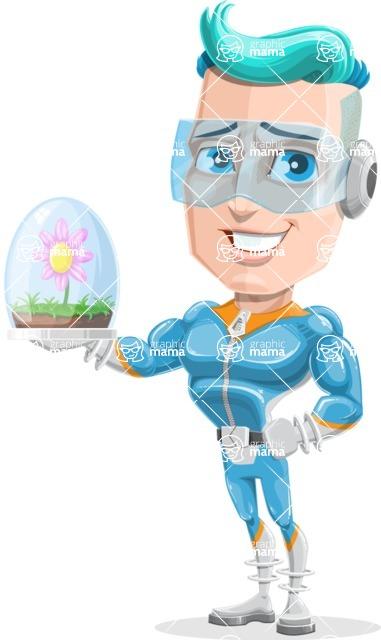 Space Man Astronaut Cartoon Vector Character AKA Lexo - Plant