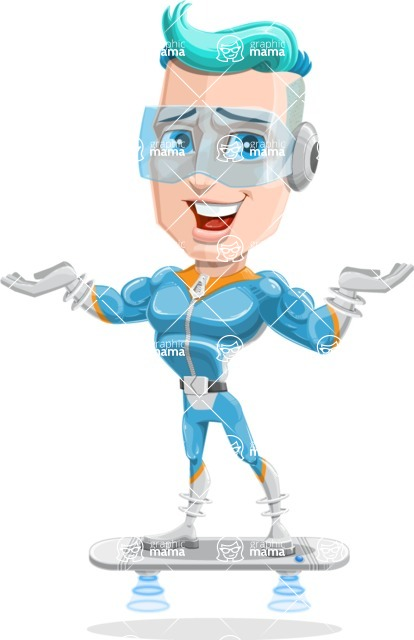 Space Man Astronaut Cartoon Vector Character AKA Lexo - Airboard