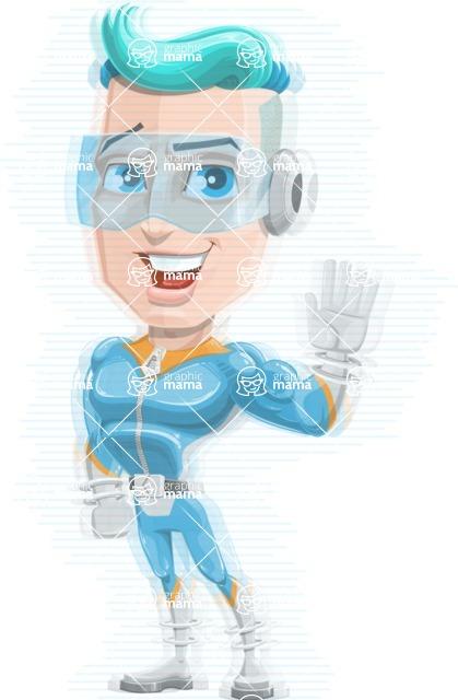 Space Man Astronaut Cartoon Vector Character AKA Lexo - Hologram