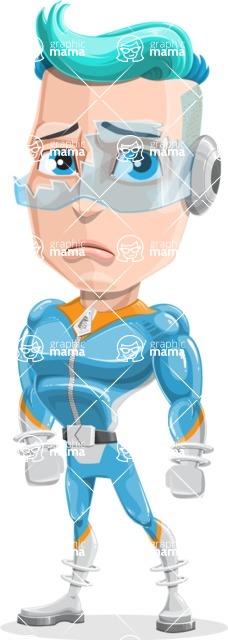 Space Man Astronaut Cartoon Vector Character AKA Lexo - Broken Glasses