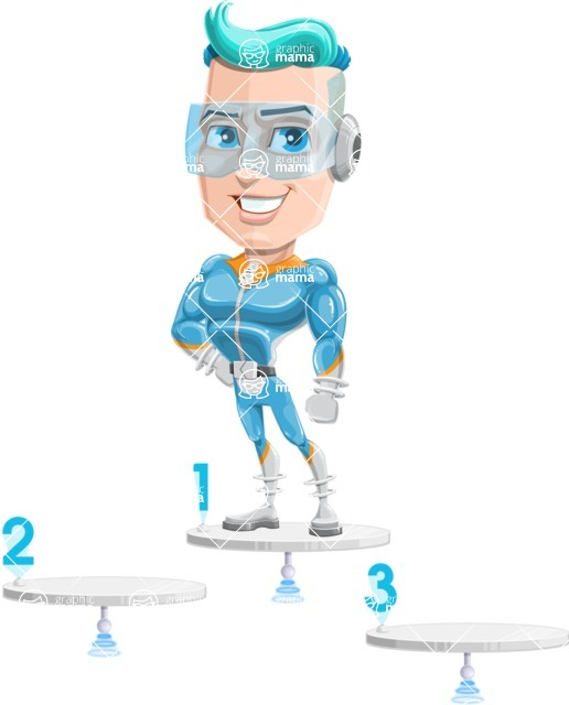 Space Man Astronaut Cartoon Vector Character AKA Lexo - On Top