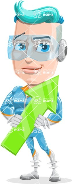 Space Man Astronaut Cartoon Vector Character AKA Lexo - Arrow 2