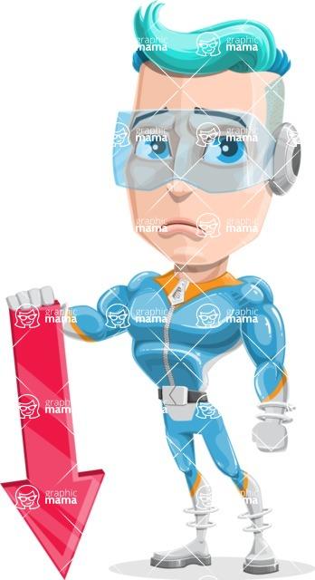 Space Man Astronaut Cartoon Vector Character AKA Lexo - Arrow 3