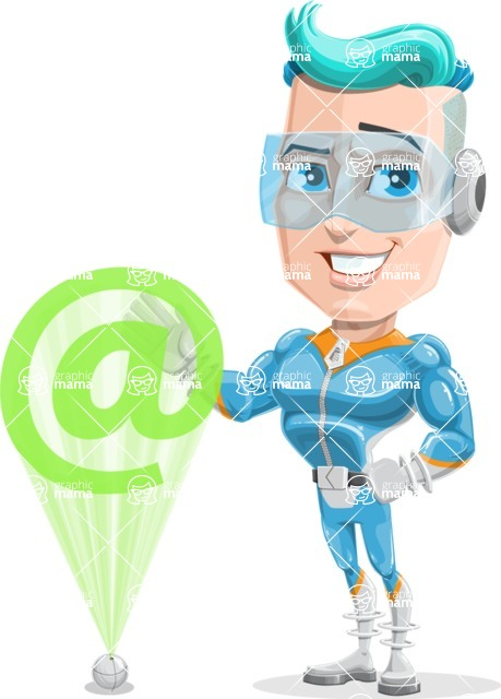 Space Man Astronaut Cartoon Vector Character AKA Lexo - Web