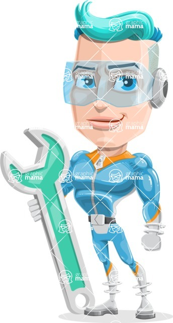 Space Man Astronaut Cartoon Vector Character AKA Lexo - Repair