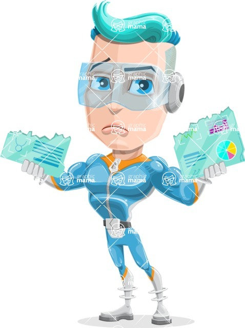 Space Man Astronaut Cartoon Vector Character AKA Lexo - Broken