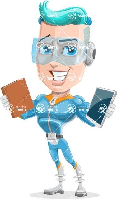 Space Man Astronaut Cartoon Vector Character AKA Lexo - Book or Tablet