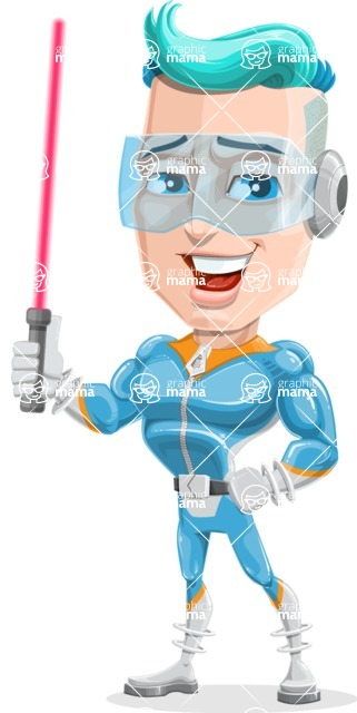 Space Man Astronaut Cartoon Vector Character AKA Lexo - Laser Sword