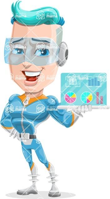 Space Man Astronaut Cartoon Vector Character AKA Lexo - Tablet 1