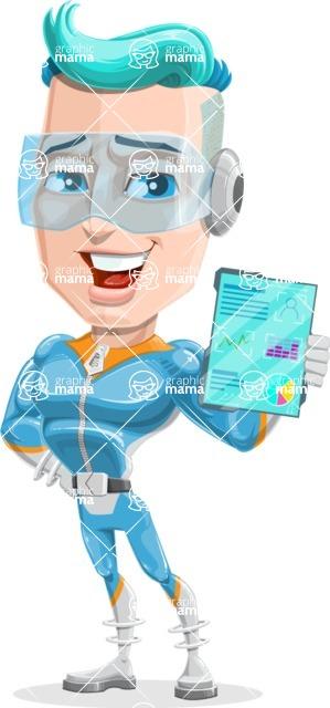 Space Man Astronaut Cartoon Vector Character AKA Lexo - Tablet 2