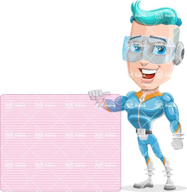 Space Man Astronaut Cartoon Vector Character AKA Lexo - Sign 8