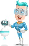 Space Man Astronaut Cartoon Vector Character AKA Lexo - Robo Assistant